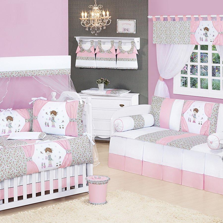 Quarto de Bebê Completo Laurinha Essencial Enxovais ~ Quarto Solteiro Completo Rosa