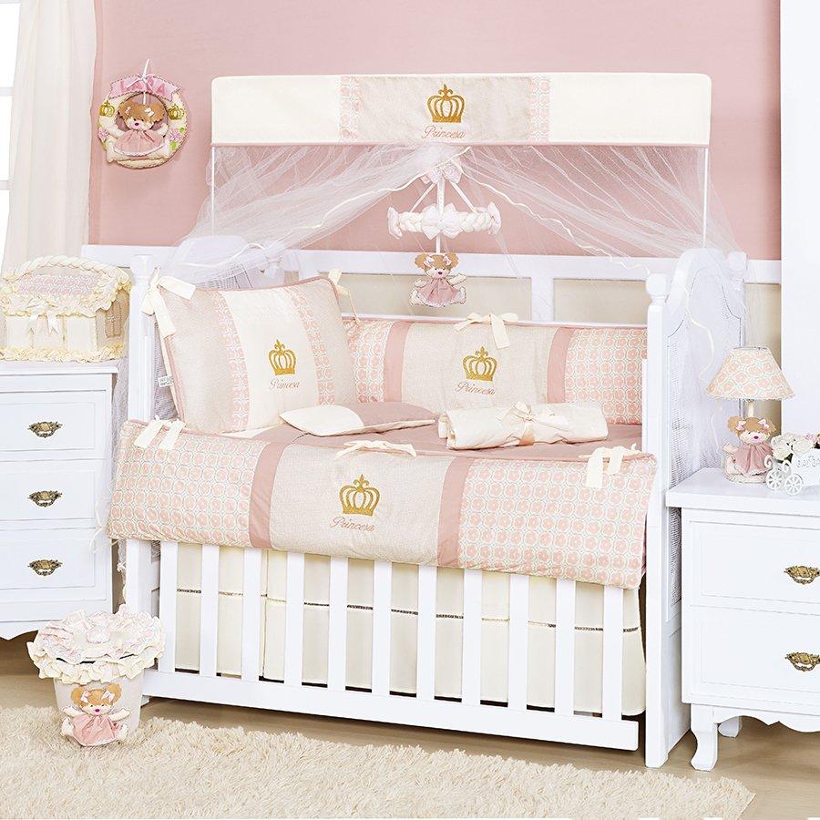 Quarto de Bebê Completo Princesa Rosa Sem Enxoval Cama  ~ Quarto Rosa De Princesa