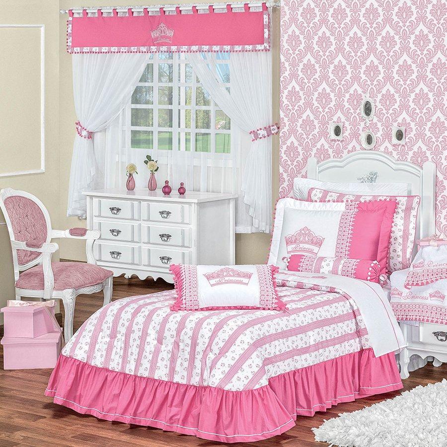 Kit Edredom + Cortina Princess Rosa  Essencial Enxovais