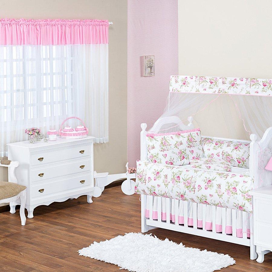 Quarto de Bebê Olivia Rosa Tema Floral Essencial Enxovais ~ Quarto Tema Rosa