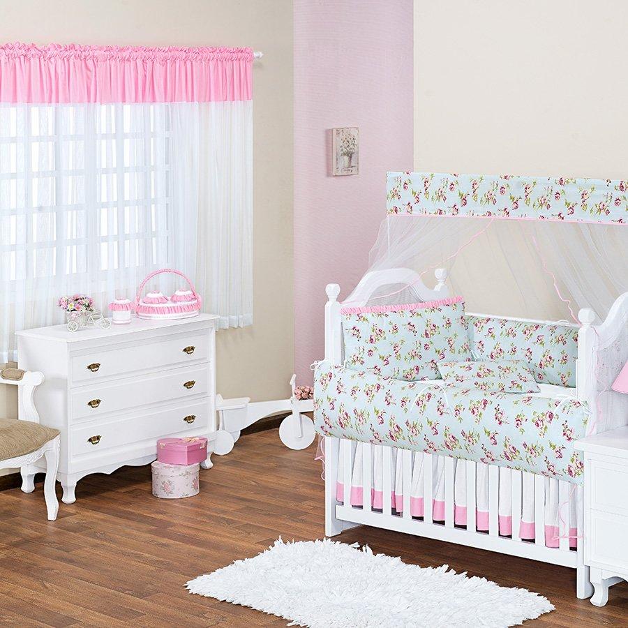 Quarto de Bebê Tiffany Azul Tema Floral Essencial Enxovais ~ Quarto Rosa E Azul