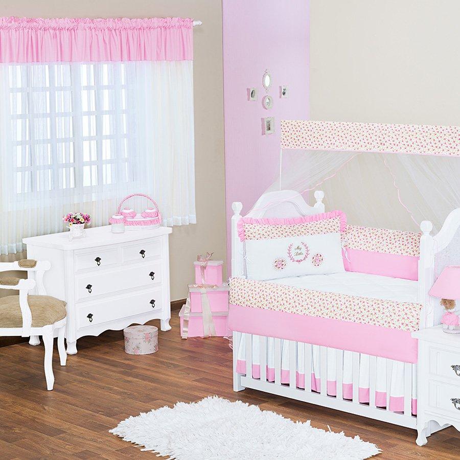 Quarto de Bebê Coroinha Rosa Tema Princesa Essencial  ~ Quarto Solteiro Completo Rosa