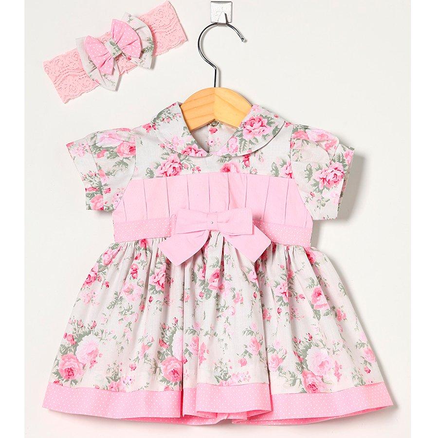 Vestido de Bebê Camponesa Rosa