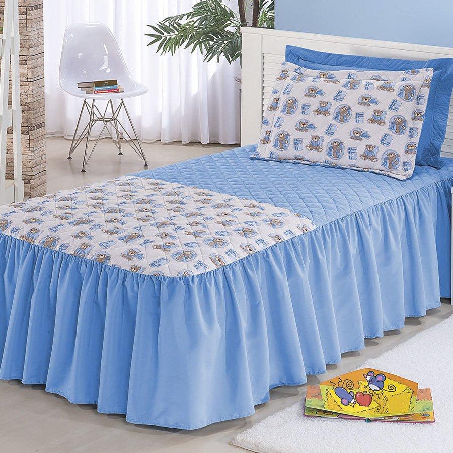 Colcha cama solteiro juvenil azul essencial enxovais for Colchas para camas grandes