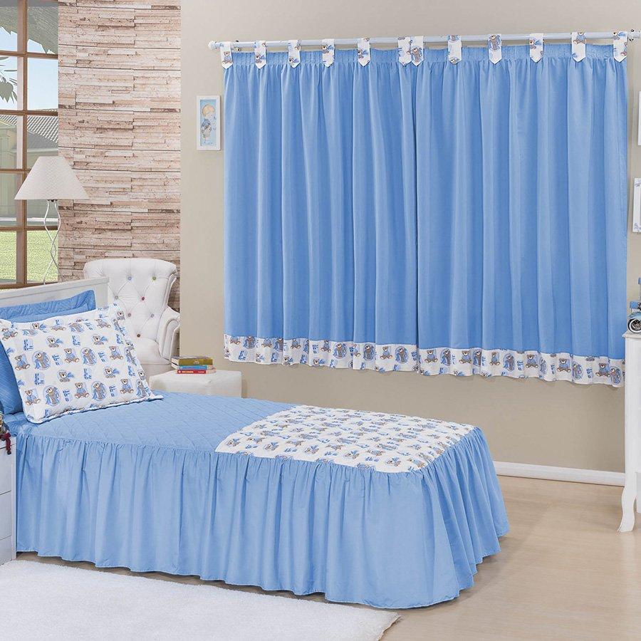 Kit colcha cama solteiro cortina juvenil azul - Cortinas para cama ...