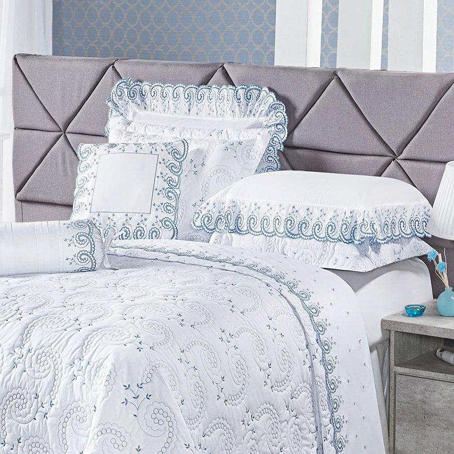 617f403f50 ... jogo de cama. cobre leito king mistral branco e azul essencial enxovais