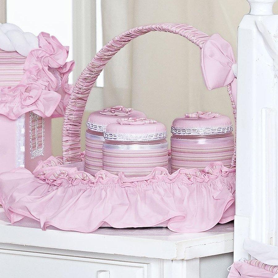 Cesta Decorada Balão Mágico Rosa  Essencial Enxovais