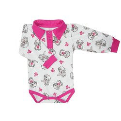 Body Bebê Manga Longa Love Dog Pink