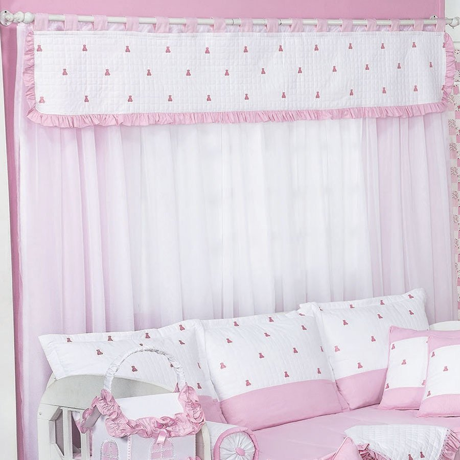 Cortina ursinhos luxo branco rosa essencial enxovais Cortina para bebe