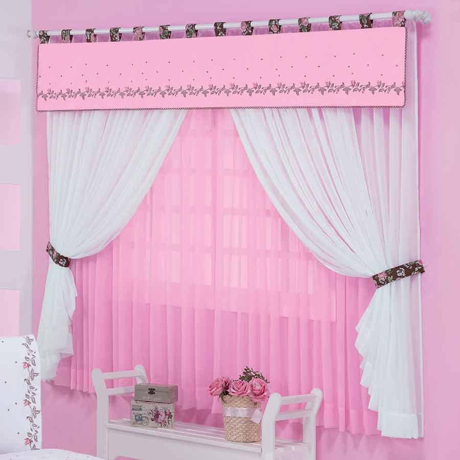 Cortina quarto feminino var o duplo celine 2 20m rosa branco essencial enxovais - Cortinas infantil ...