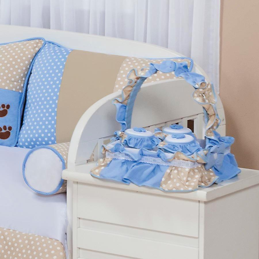 Cesta Decorada Quarto Enxoval Bebê Menino Papai Urso Azul