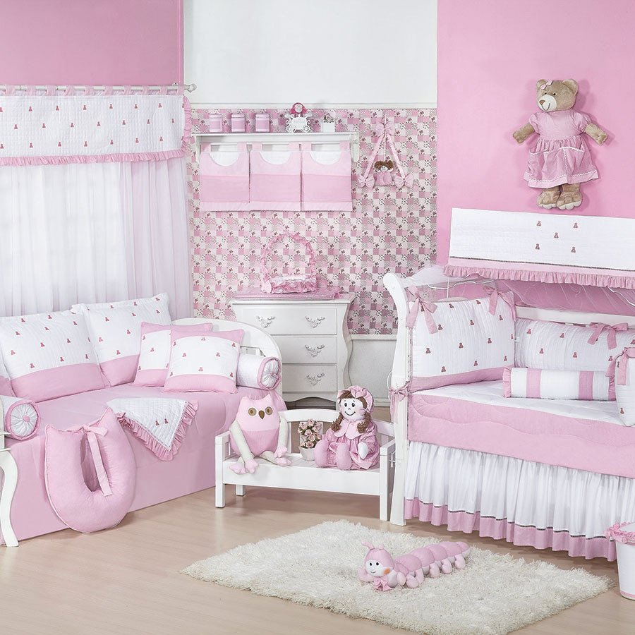 Enxoval De Menina ~ Quarto Completo Luxo Rosa Branco Beb u00ea Menina Essencial Enxovais
