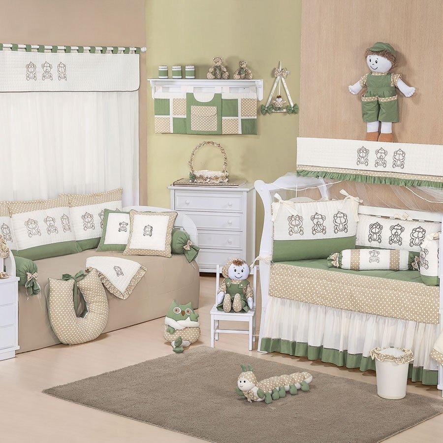Quarto Completo Enxoval Bebê Menino Cor Verde Macaquinho  ~ Cores Para Quarto De Bebe Verde