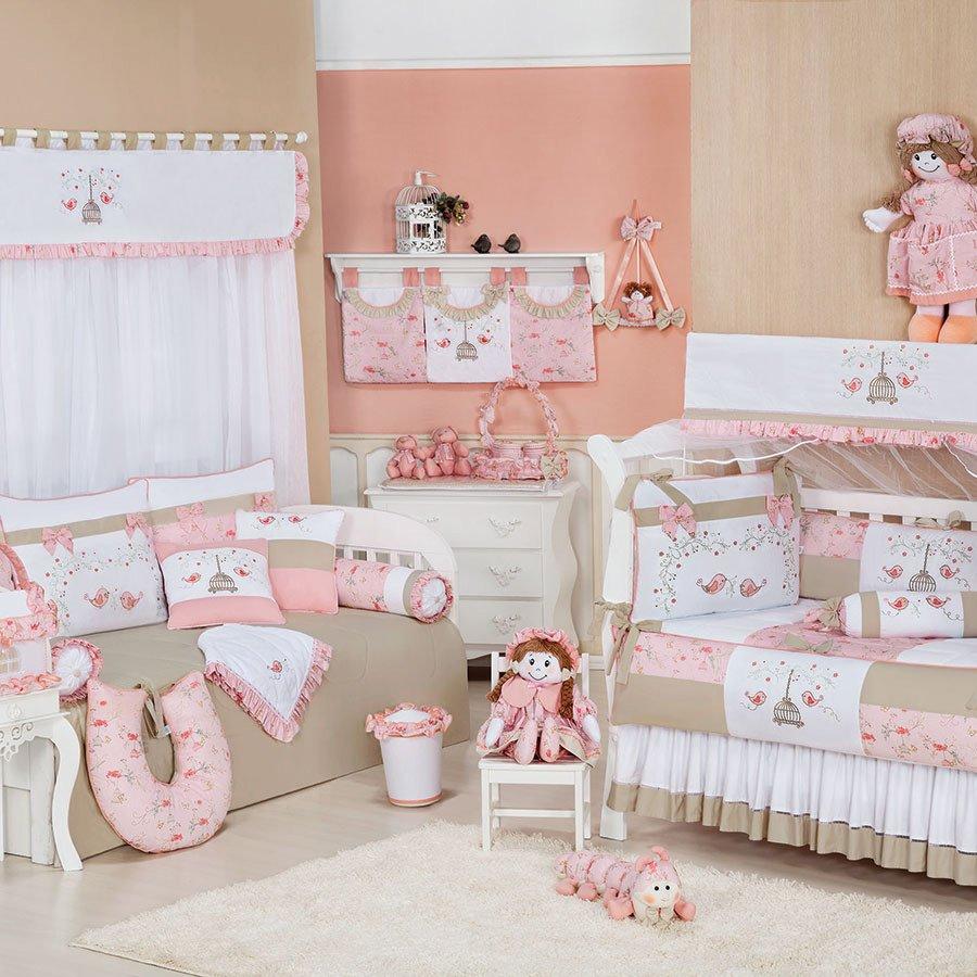 Quarto Completo Enxoval Bebê Menina Primavera Rosa Cáqui  ~ Quarto Rosa Bege