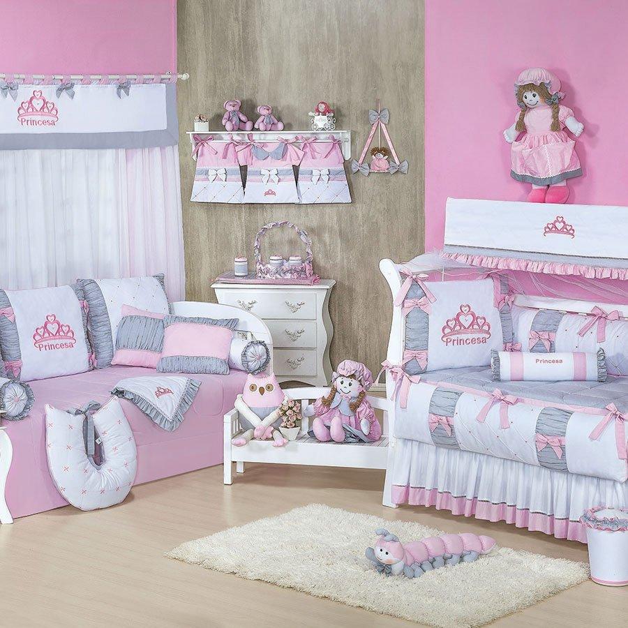 Quarto Completo Enxoval Bebê Menina Princesa Rosa Cinza  ~ Quarto Rosa Com Lilas Combina