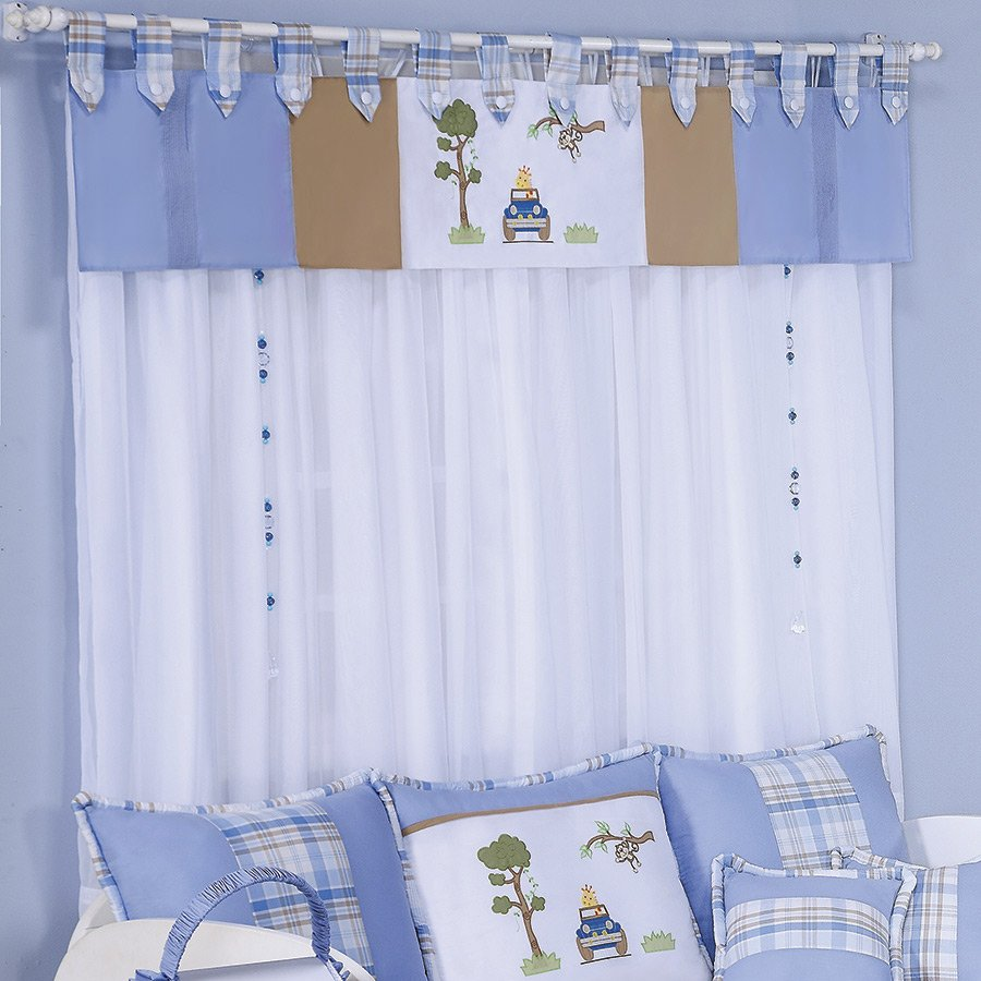 Cortina para quarto de beb menino jipe branco azul 2 - Cortinas de bebe ...