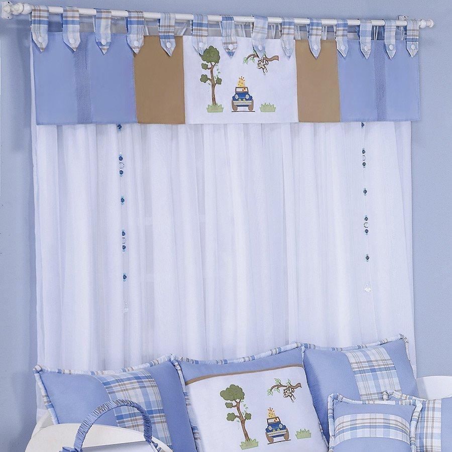 Cortina para quarto de beb menino jipe branco azul 2 00m var o duplo essencial enxovais - Cortinas para nino ...