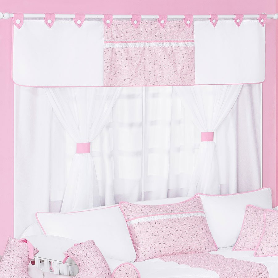 Cortina para quarto de beb menina encanto 1 70m branco Cortina para bebe