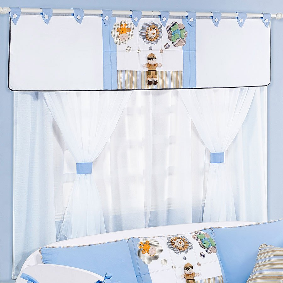 Cortina Para Quarto de Bebê Menino Safari 1,70M Branco  ~ Quarto Solteiro Azul E Branco