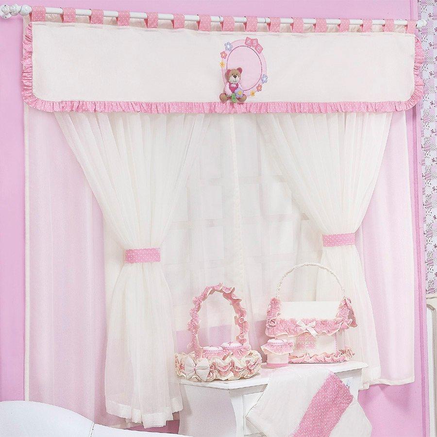 Cortina para quarto de beb menina ursa guirlanda rosa 2 - Cortinas para bebe ...