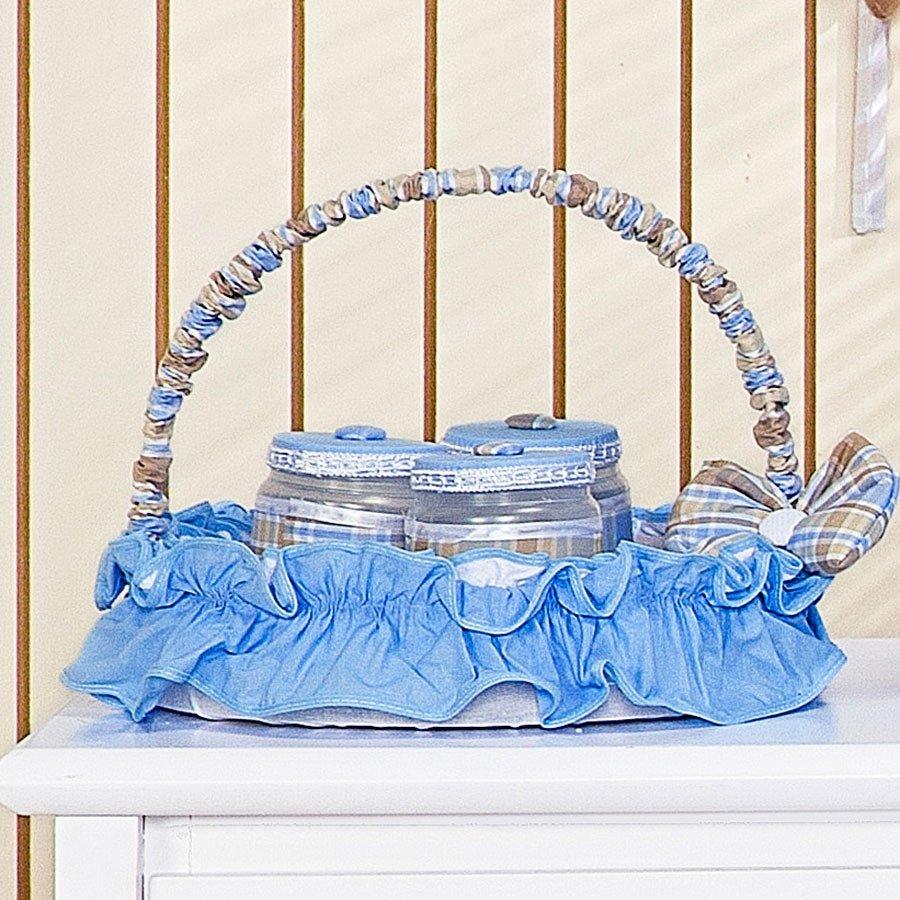 Cesta Decorada Para Quarto de Bebê Menino Cowboy Azul  Essencial