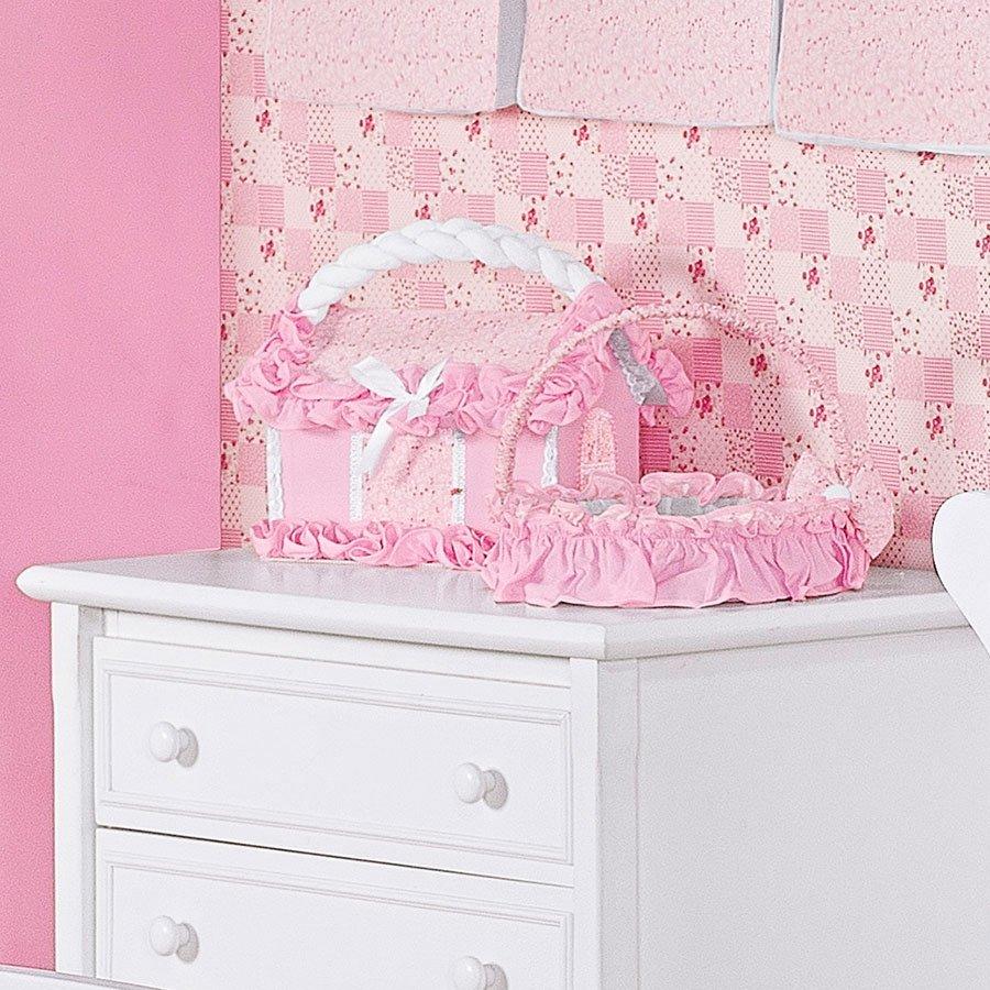 Cesta Decorada Para Quarto de Bebê Menina Encanto Rosa  Essencial