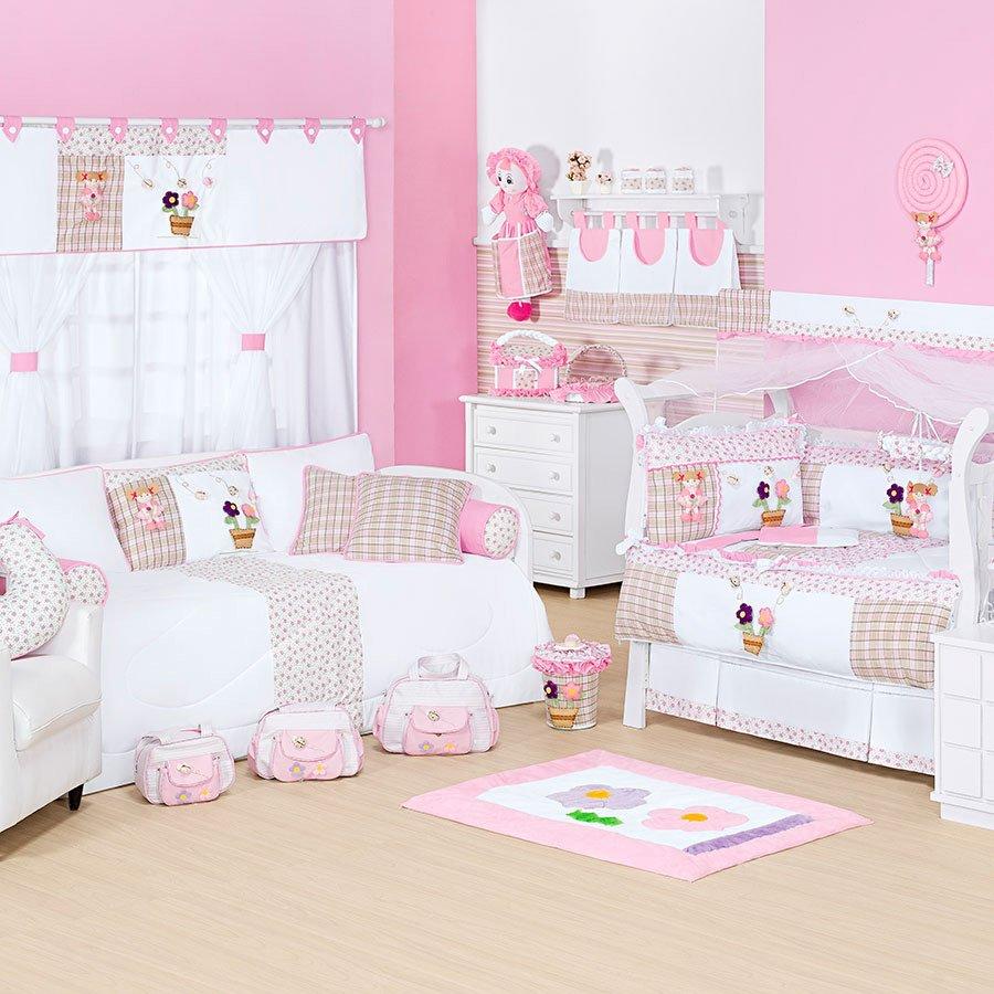 Quarto Branco Com Faixa Rosa Redival Com ~ Faixa Para Quarto De Bebe Feminino