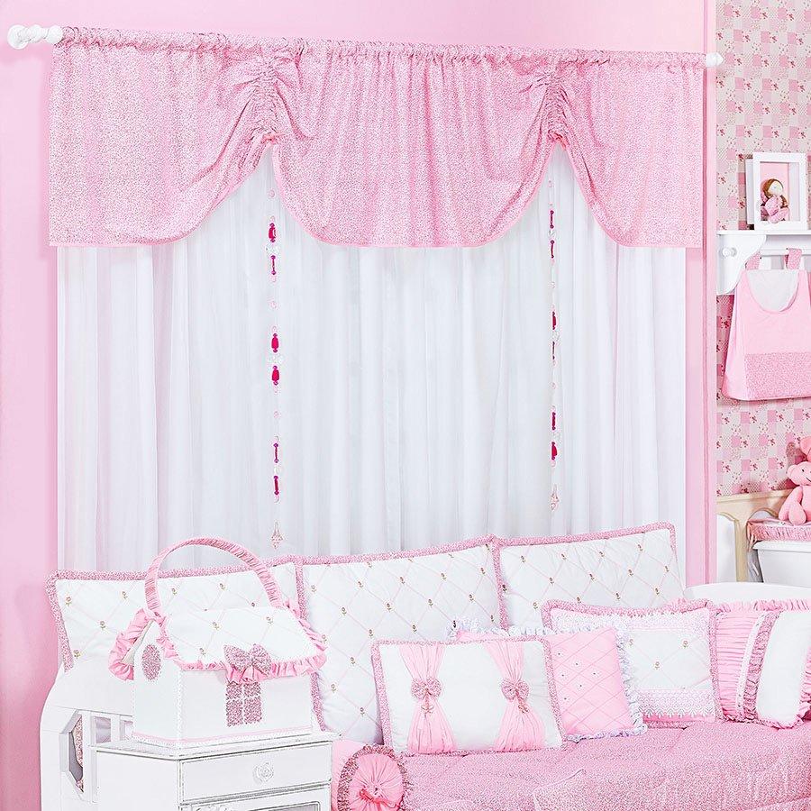 Cortina bot es para quarto de beb menina branco rosa - Cortina para cuarto de bebe ...