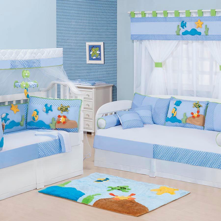 Quarto completo enxoval beb menino aqu rio azul 100 for Cuarto kit del america
