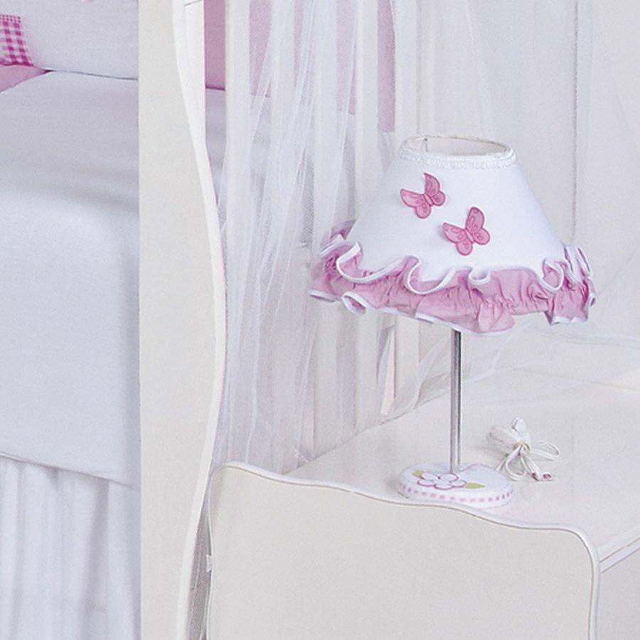 Abajur Para Quarto de Bebê Menina Sofia Branco  Rosa  Essencial Enxova