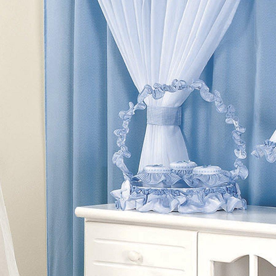 Cesta Decorada Para Quarto de Bebê Menino Encanto Azul  Branco
