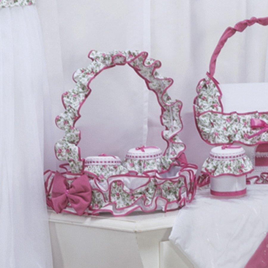 Cesta Decorada Para Quarto de Bebê Menina Rosinha Rosa Floral