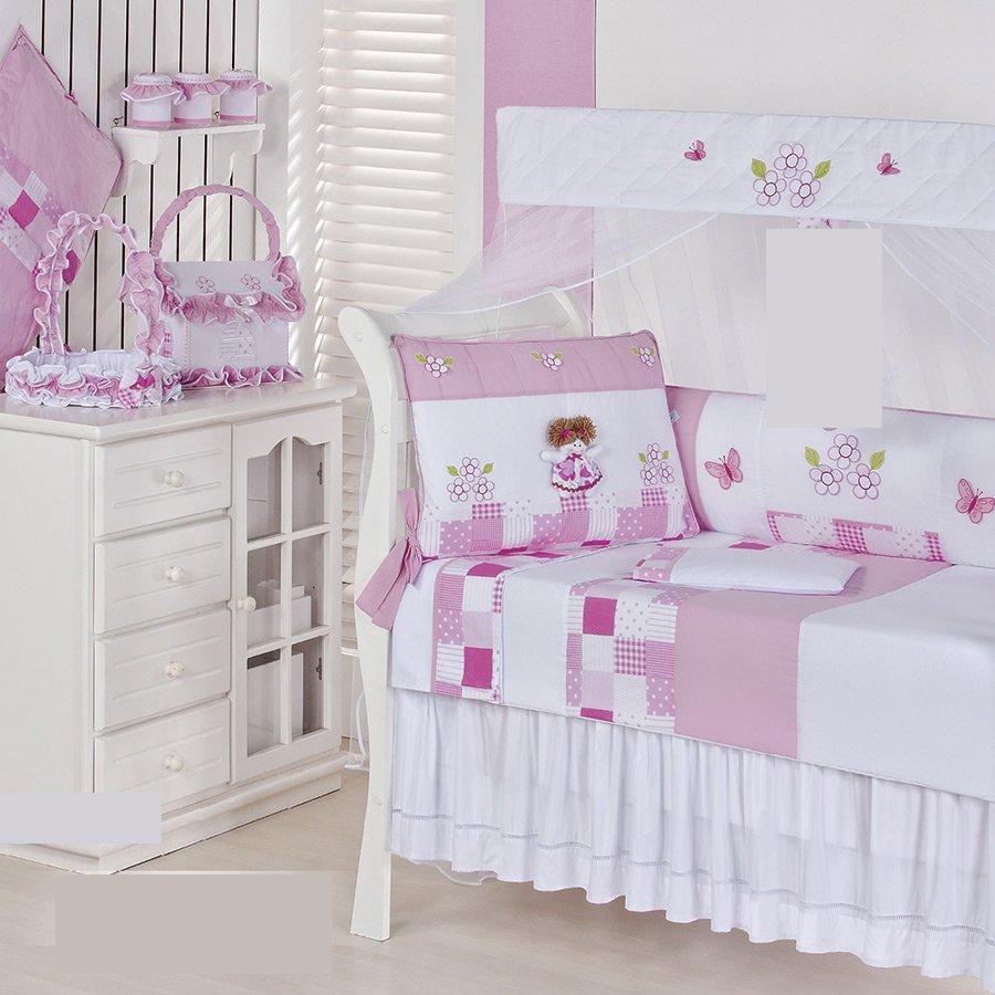 Quarto Completo Sem Enxoval Cama Babá Bebê Menina Sofia  ~ Quarto Solteiro Completo Rosa