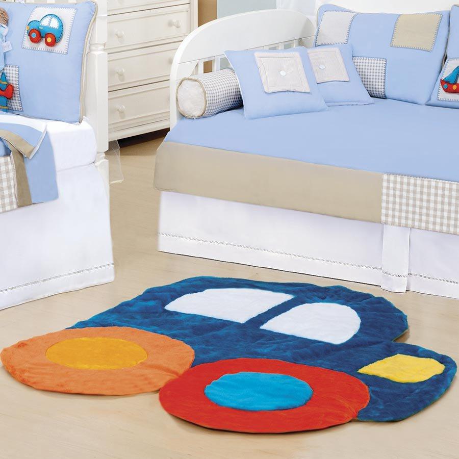 Tapete para Enxoval de Bebê Carrinho Pelúcia Essencial  ~ Tapete Para Quarto Azul