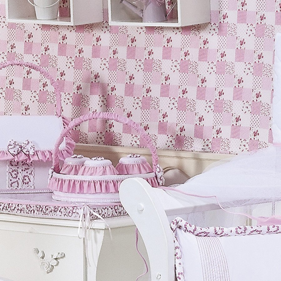 Cesta Decorada Bailarina Branco  Rosa Enxoval Bebê Menina