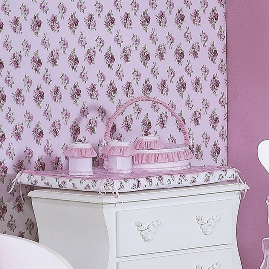 Cesta Decorada Flower Branco  Rosa Bebê Menina  Essencial Enxovais