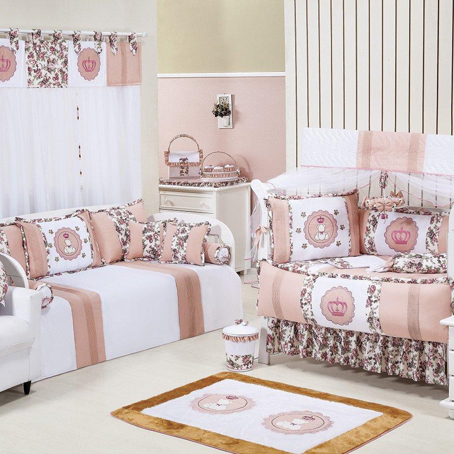 Enxoval De Menina ~ Quarto Completo Princesa Branco Floral Salmon Enxoval Beb u00ea Menina Essencial Enxovais