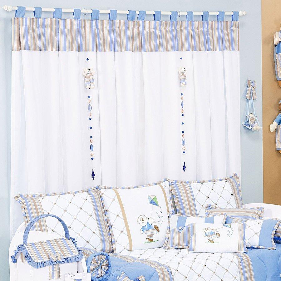 Cortina Para Quarto de Bebê Menino Urso Théo Branco - Listrado Azul