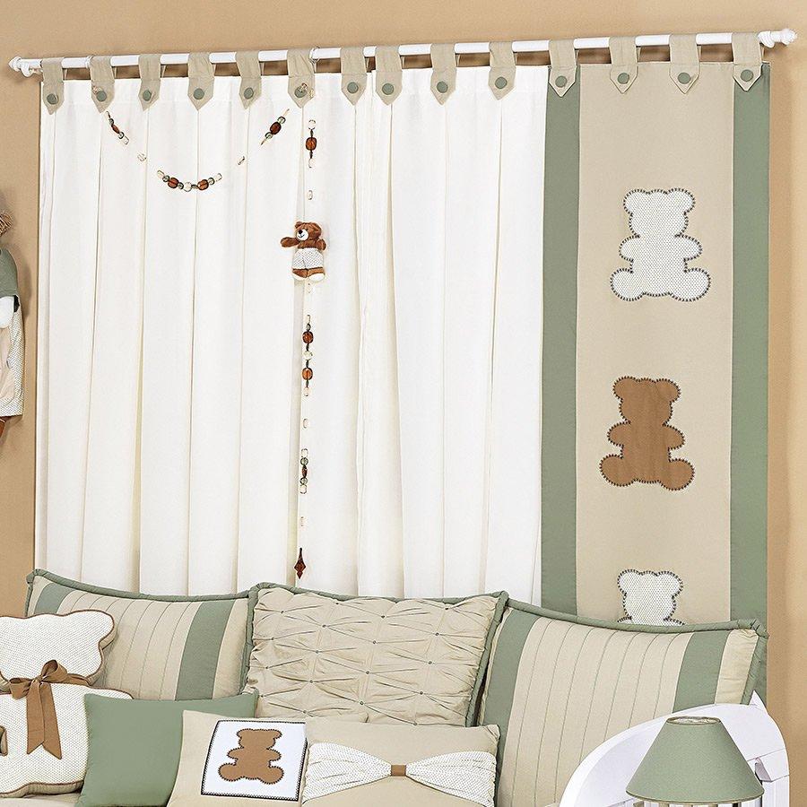 Cortina para quarto de beb menino urso harmonia palha - Cortina para cuarto de bebe ...
