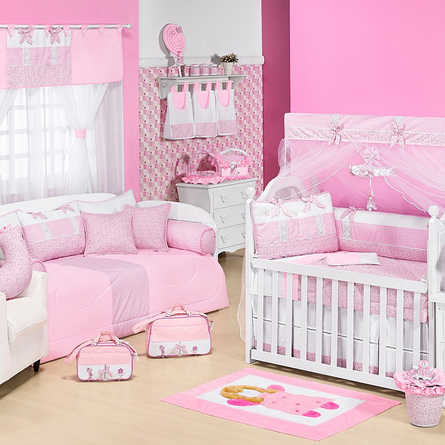Quarto de Bebê Veneza Rosa Essencial Enxovais ~ Quarto Solteiro Completo Rosa