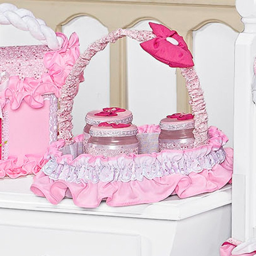Cesta decorada pink essencial enxovais - Cestas de mimbre para bebes ...