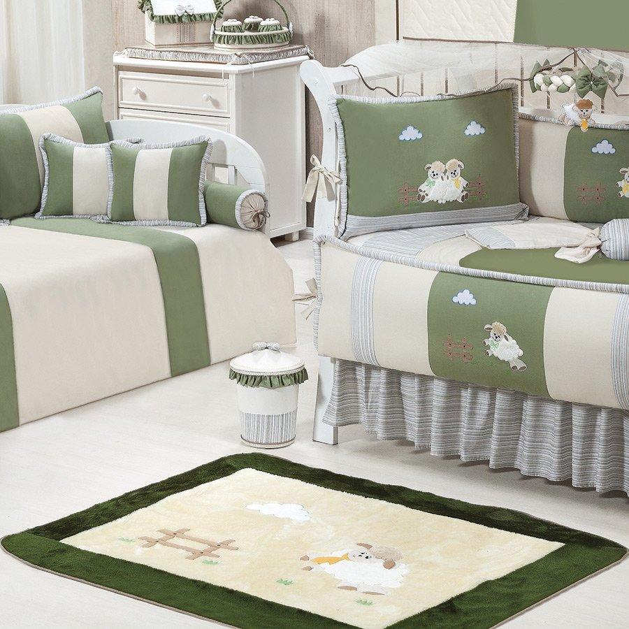 Tapete Para Quarto de Bebê Ovelhinha Palha Verde  ~ Tapete De Quarto Verde