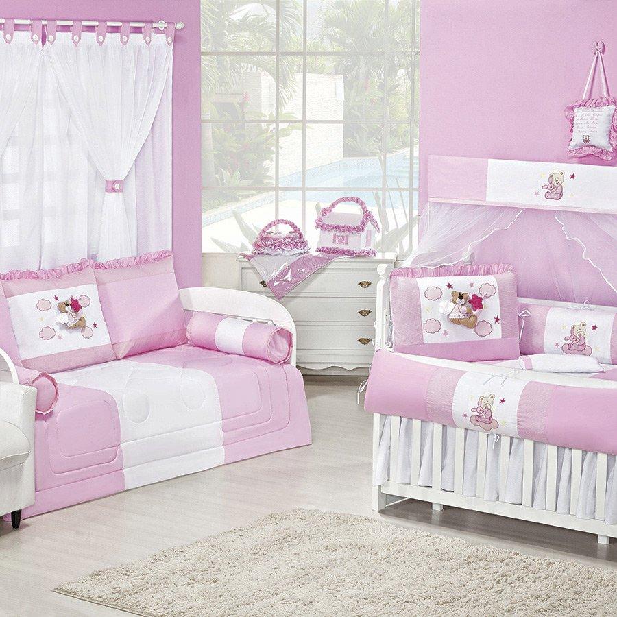 Quarto de Bebê Anjinho Rosa Essencial Enxovais ~ Quarto Solteiro Completo Rosa