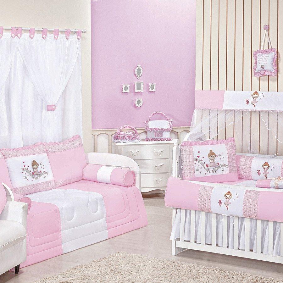 Quarto de Bebê Bailarina Rosa Essencial Enxovais ~ Quarto Solteiro Completo Rosa