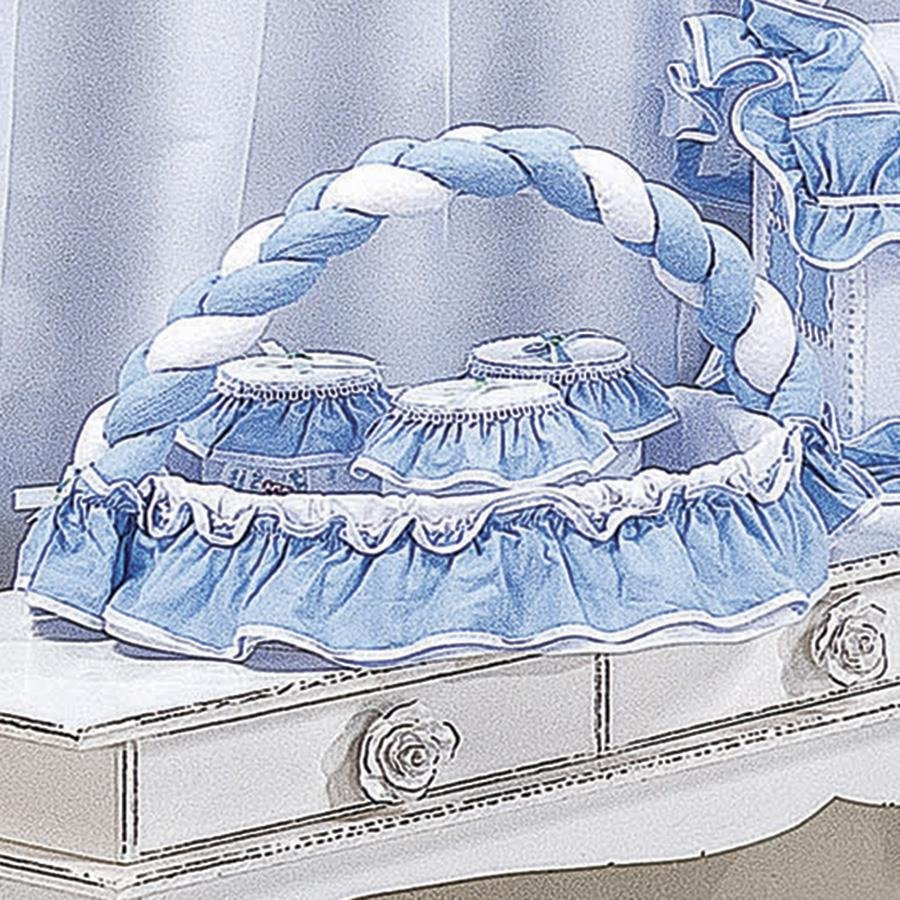Cesta Decorada Pepeu Branco  Azul