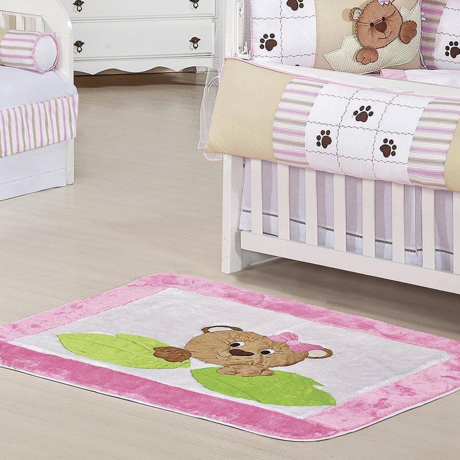 Tapete Quarto Bebê Ursa Nina Rosa Essencial Enxovais ~ Tapete Para Quarto De Bebe Ursa