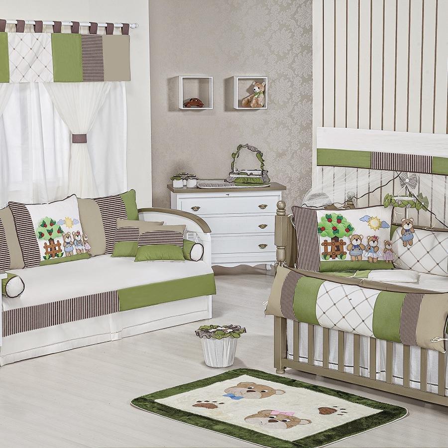 Quarto de Bebê S Bicama Família Urso Essencial Enxovais ~ Quarto Tema Verde