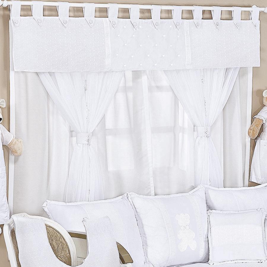 Cortina Quarto Bebê Classic Branco  Essencial Enxovais