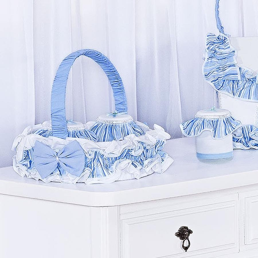 Cesta Decorada Carrinhos Azul  Essencial Enxovais