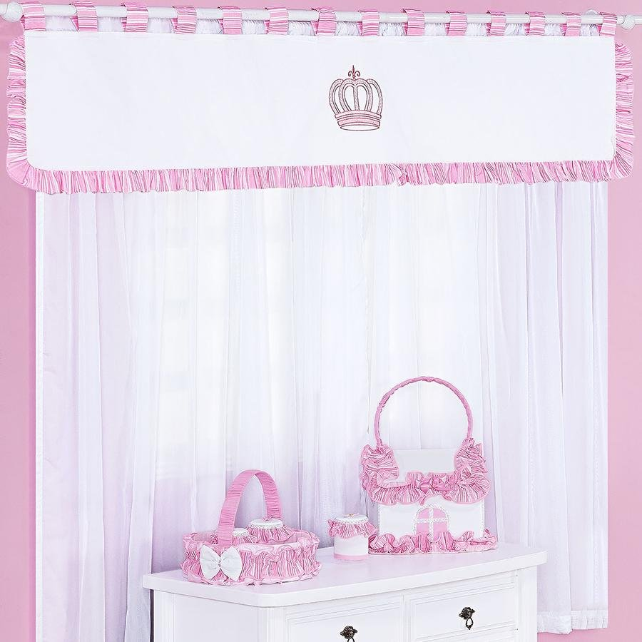 Cortina Quarto Bebê Coroa Rosa 5 Peças Essencial Enxovais ~ Quarto Rosa De Princesa